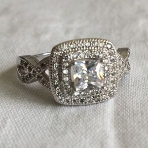 Large Cubic Zirconia Engagement Ring Size 8